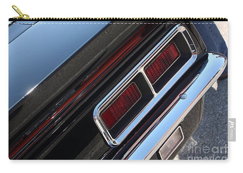 1967 Carry-all Pouch featuring the photograph 67 Black Camaro Ss Tail Light-8020 by Gary Gingrich Galleries