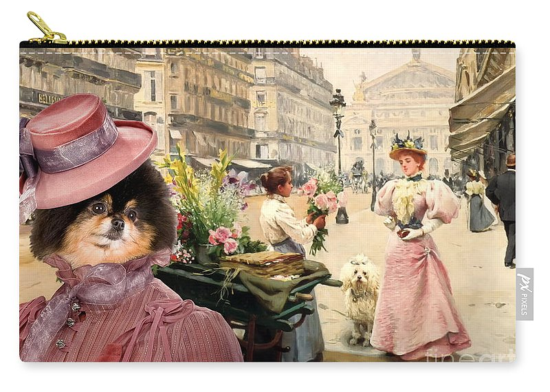 Pomeranian Carry-all Pouch featuring the painting Pomeranian Art Canvas Print by Sandra Sij