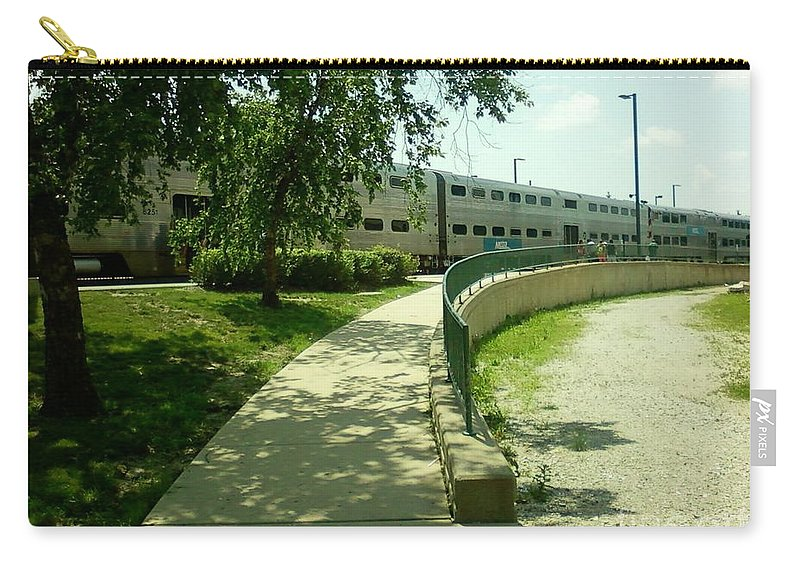 Aurora Transportation Center Carry-all Pouch featuring the photograph Aurora Transportation Center by Alfie Martin