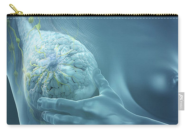Digitally Generated Image Carry-all Pouch featuring the photograph Breast Examination by Science Picture Co