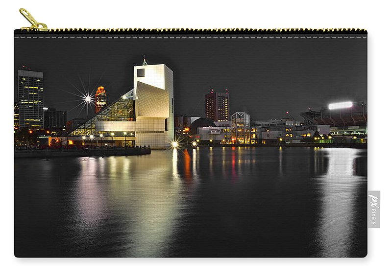 Rock And Roll Carry-all Pouch featuring the photograph Cleveland Ohio by Frozen in Time Fine Art Photography