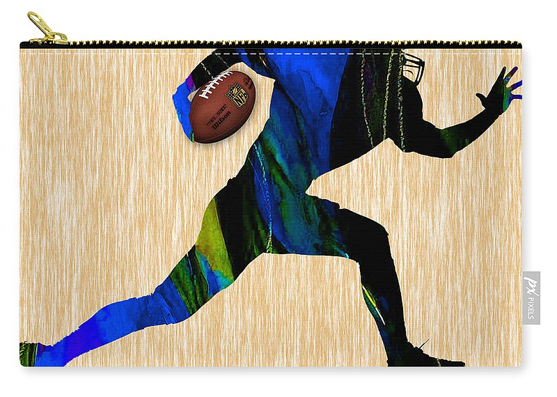 Football Carry-all Pouch featuring the mixed media Football by Marvin Blaine