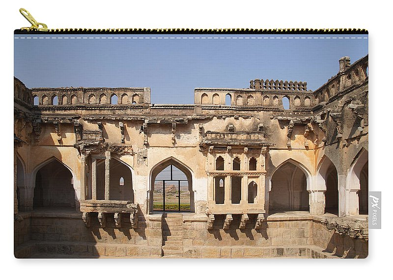 Ancient Buildings Carry-all Pouch featuring the digital art Hampi Temple by Carol Ailles
