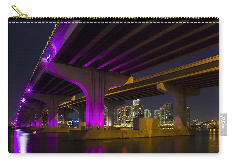 Architecture Carry-all Pouch featuring the photograph Miami Downtown Skyline by Raul Rodriguez