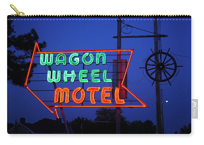 66 Carry-all Pouch featuring the photograph Route 66 - Wagon Wheel Motel by Frank Romeo