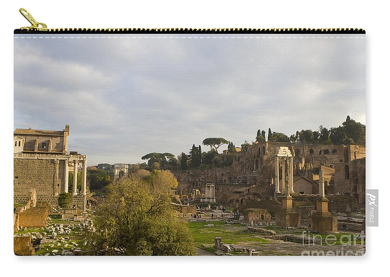 Travel Carry-all Pouch featuring the photograph Ruins In The Roman Forum Rome Italy by Jason O Watson