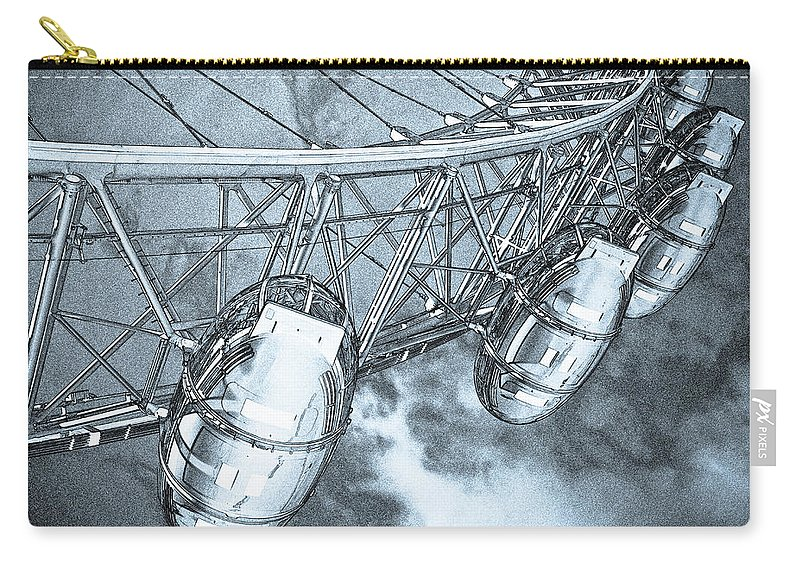 London Eye Carry-all Pouch featuring the digital art The London Eye Art by David Pyatt