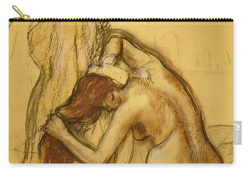 Edgar Degas Carry-all Pouch featuring the painting Woman Drying Herself by Edgar Degas
