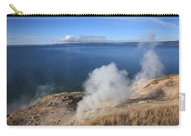 America Carry-all Pouch featuring the photograph Yellowstone Lake And Geysers by Frank Romeo