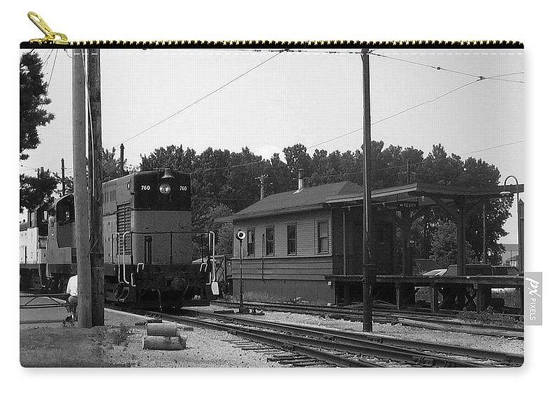 Locomotive Carry-all Pouch featuring the photograph 760 Passing The Yard House Bw by Thomas Woolworth