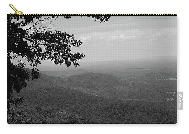 America Carry-all Pouch featuring the photograph Blue Ridge Mountains - Virginia Bw by Frank Romeo