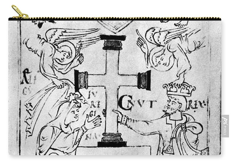 11th Century Carry-all Pouch featuring the painting Canute I (c995-1035) by Granger