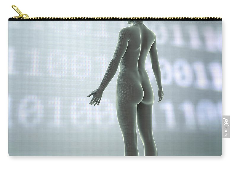 3d Visualisation Carry-all Pouch featuring the photograph Digital Being by Science Picture Co