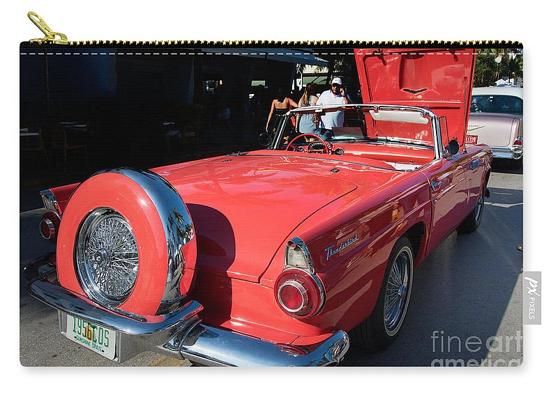 Cars Carry-all Pouch featuring the digital art Ford Thunderbird by Carol Ailles