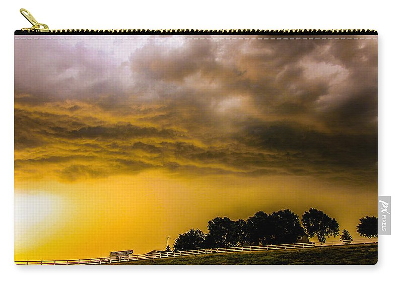 Kearney Nebraska Carry-all Pouch featuring the photograph Late Afternoon Nebraska Thunderstorms by NebraskaSC