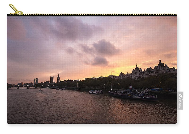 Westminster Carry-all Pouch featuring the photograph London Skyline Sunset by Dawn OConnor