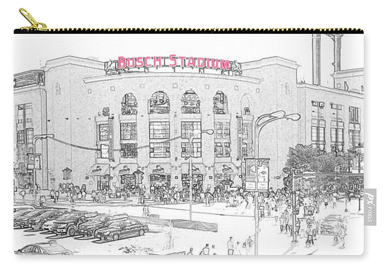 Busch Stadium Carry-all Pouch featuring the photograph 8th And Clark Busch Stadium Sketch by C H Apperson