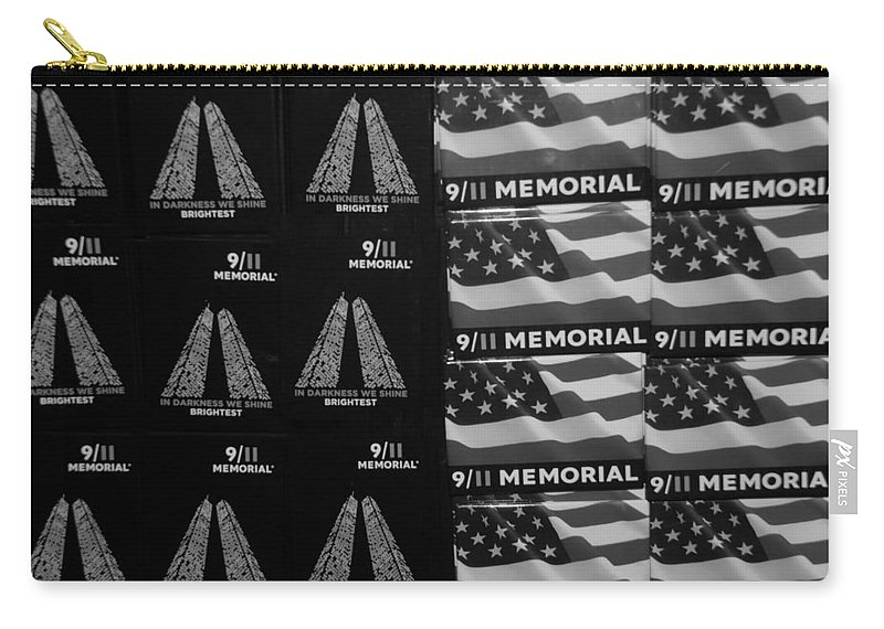 Wtc Carry-all Pouch featuring the photograph 9/11 Memorial For Sale In Black And White by Rob Hans