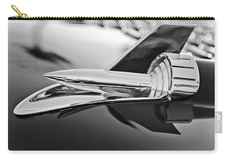 1957 Chevrolet Belair Hood Ornament Carry-all Pouch featuring the photograph 1957 Chevrolet Belair Hood Ornament by Jill Reger