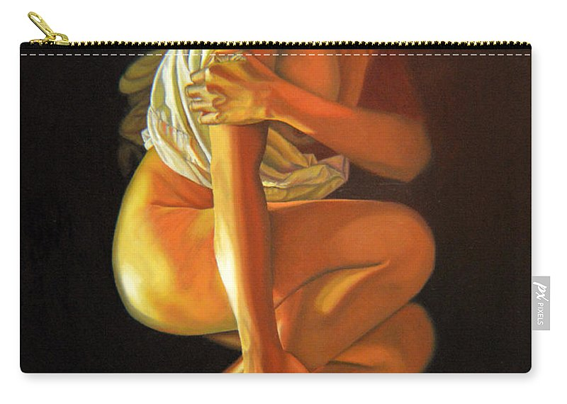 Oil_painting Carry-all Pouch featuring the painting 9 30 Am by Thu Nguyen