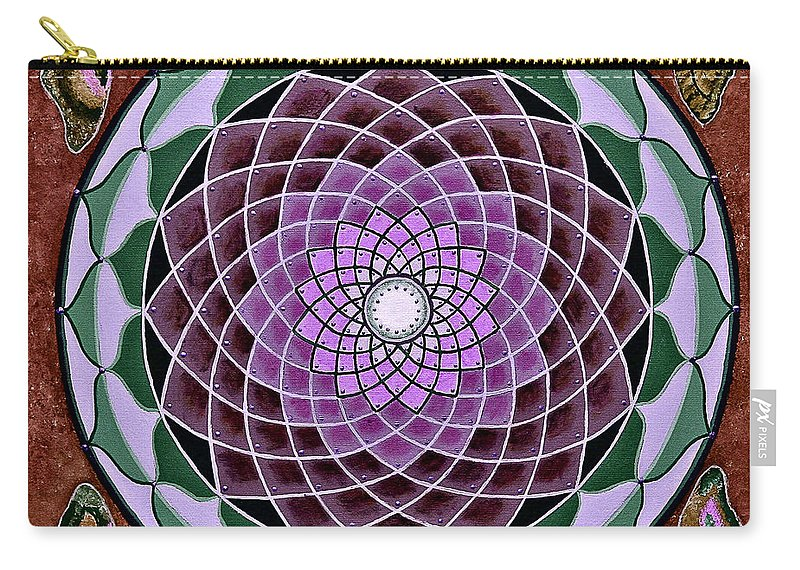 Mandala Paintings Carry-all Pouch featuring the painting Cosmic Flower Mandala 6 by Maya B