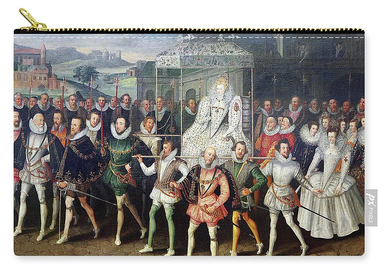 1600 Carry-all Pouch featuring the painting Elizabeth I (1533-1603) by Granger