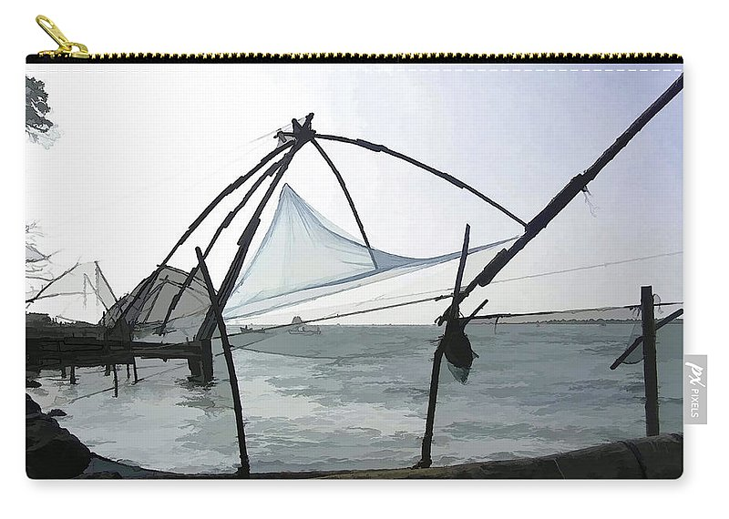 Action Carry-all Pouch featuring the digital art Fishing Nets On The Sea Coast In Alleppey by Ashish Agarwal