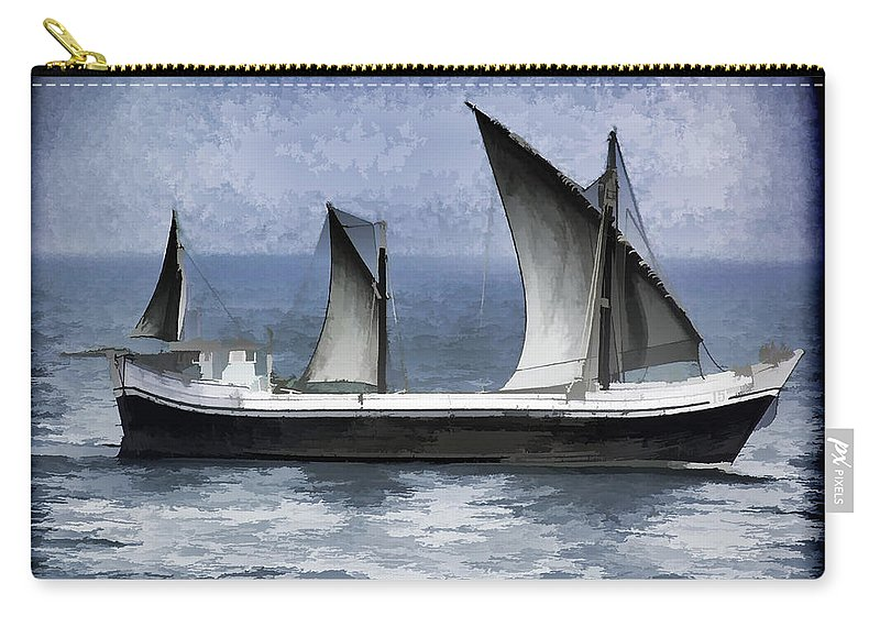 Action Carry-all Pouch featuring the digital art Fishing Vessel In The Arabian Sea by Ashish Agarwal