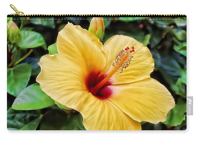 Yellow Carry-all Pouch featuring the photograph Hibiscus by Joyce Baldassarre