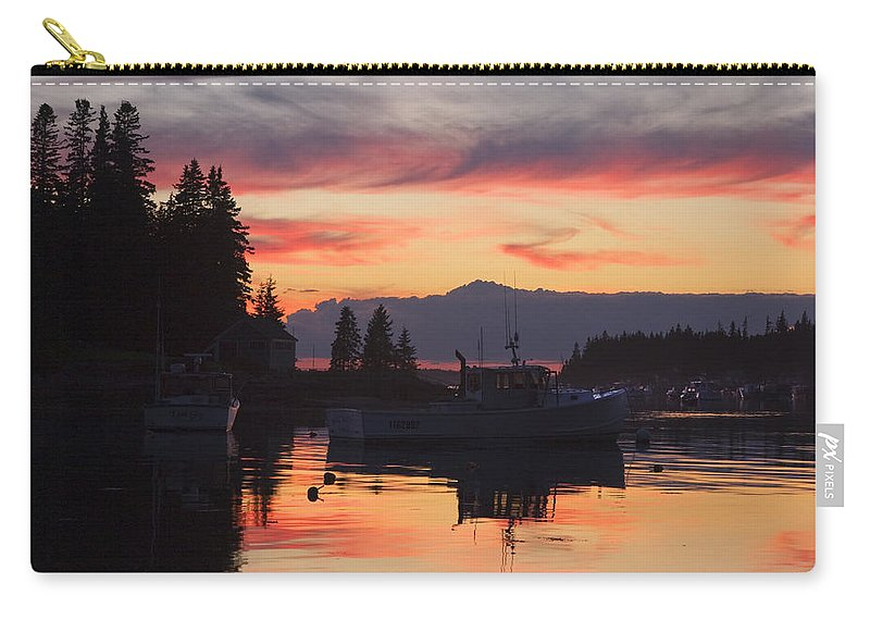 Maine Carry-all Pouch featuring the photograph Port Clyde Maine Fishing Boats At Sunset by Keith Webber Jr