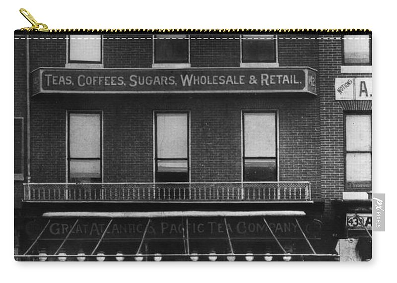 1890 Carry-all Pouch featuring the photograph A & P Store, 1890s by Granger