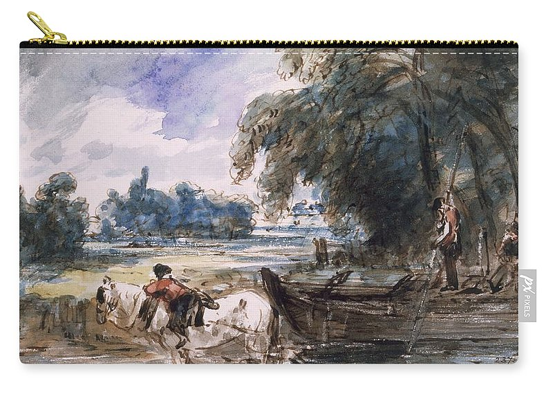 Barge Carry-all Pouch featuring the drawing A Barge On The Stour by John Constable