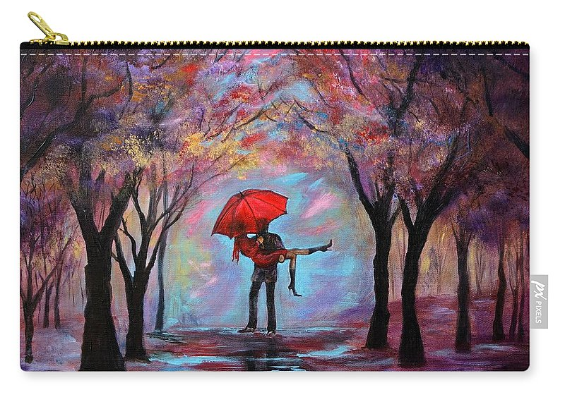 Couple Carry-all Pouch featuring the painting A Beautiful Romance by Leslie Allen