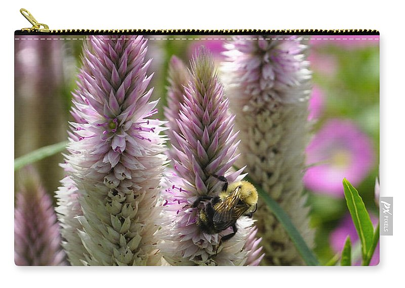Bee Carry-all Pouch featuring the photograph A Bee's Work Is Never Done Abwndp by Jim Brage