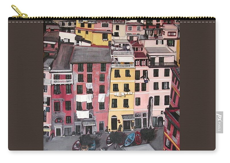 Vernazza Carry-all Pouch featuring the painting A Bird's Eye View Of Cinque Terre by Quin Sweetman