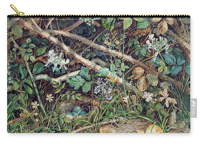 Eggs Carry-all Pouch featuring the drawing A Birds Nest Among Brambles by John Sherrin