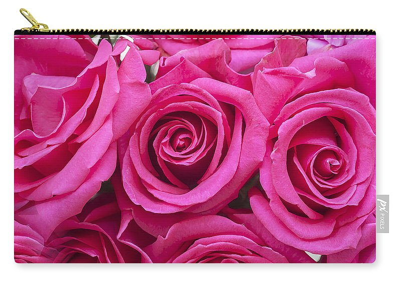 Pink Roses Carry-all Pouch featuring the photograph A Bouquet Of Pink Roses by Rich Franco