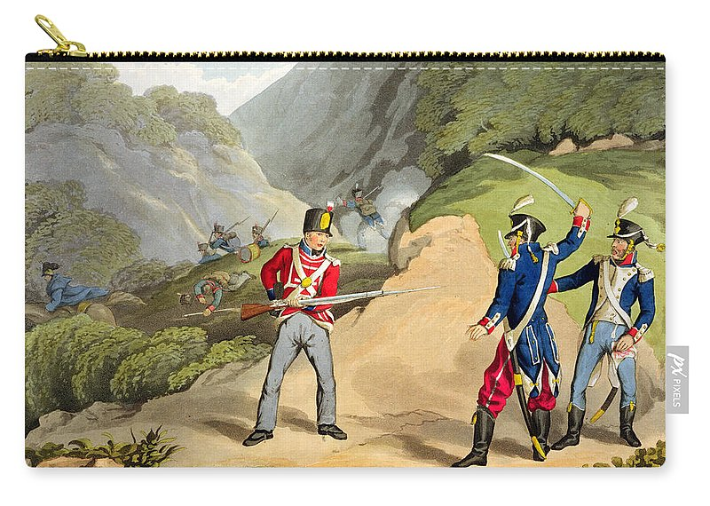 Redcoat Carry-all Pouch featuring the drawing A British Soldier Taking Two French by John Augustus Atkinson