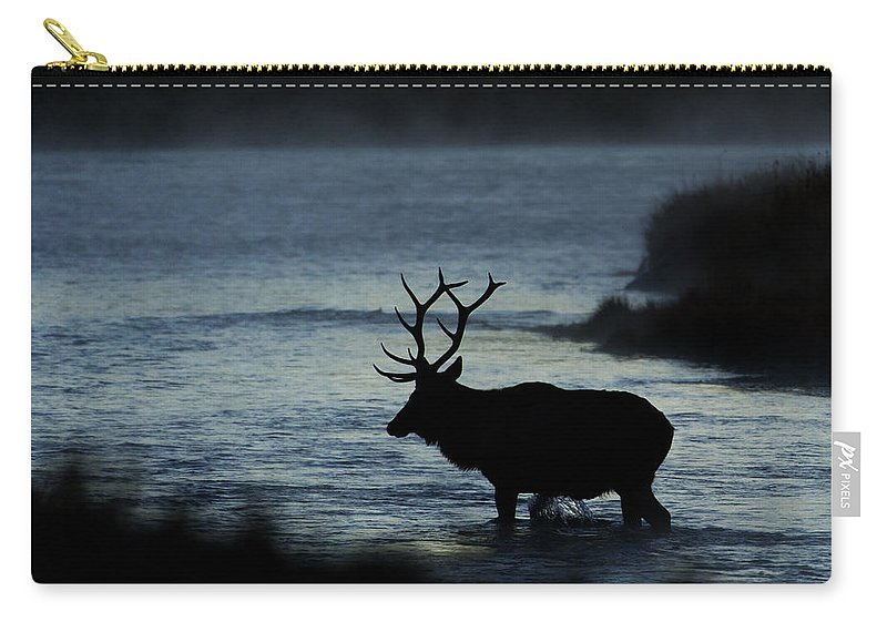 Elk Carry-all Pouch featuring the photograph A Bull Elk Crosses The Madison In The Early Morning by Gary Langley
