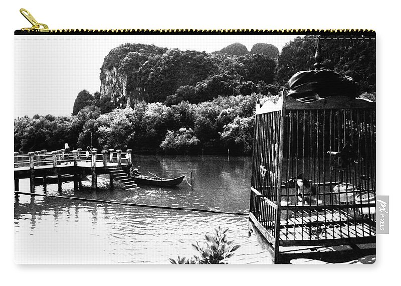 Cage Carry-all Pouch featuring the photograph A Caged Bird's Vista by Kaleidoscopik Photography