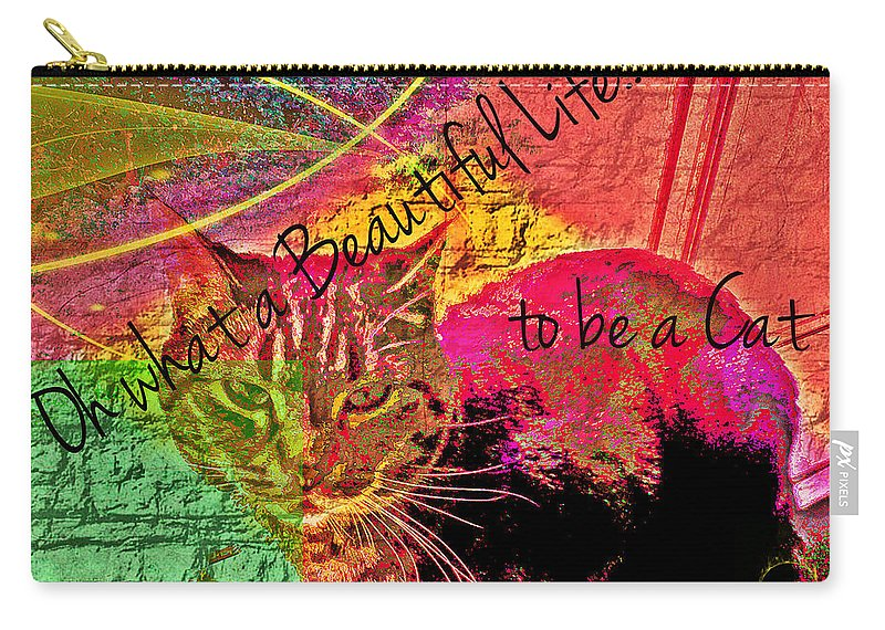 Cat Carry-all Pouch featuring the digital art A Cat's Life by Absinthe Art By Michelle LeAnn Scott