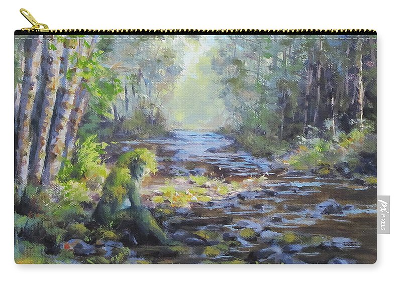 Original Carry-all Pouch featuring the painting A Chance Encounter With Mossman by Karen Ilari