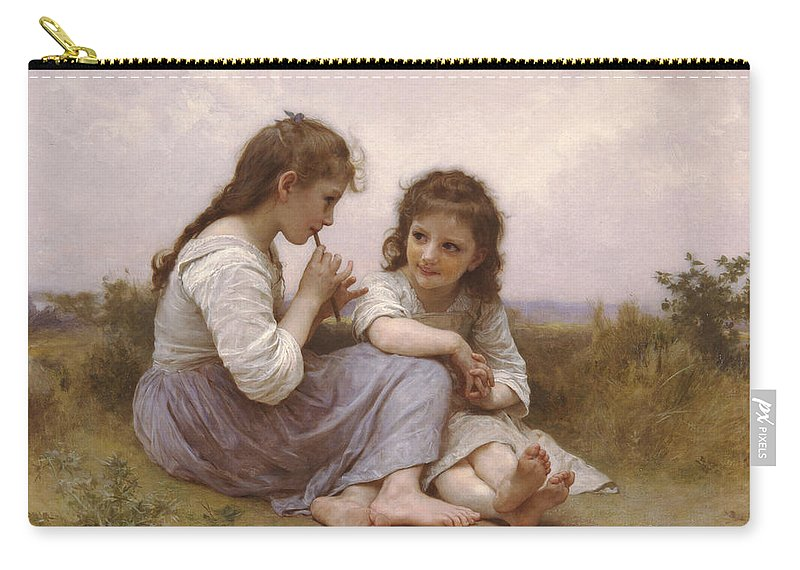 William-adolphe Bouguereau Carry-all Pouch featuring the painting A Childhood Idyll by William-Adolphe Bouguereau
