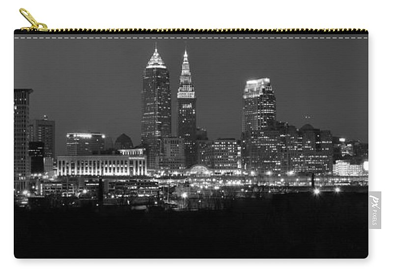 Abstract Carry-all Pouch featuring the photograph A Cleveland Black And White Night by Frozen in Time Fine Art Photography