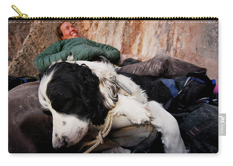 Adult Carry-all Pouch featuring the photograph A Climber And Her Dog Lay by Rich Wheater