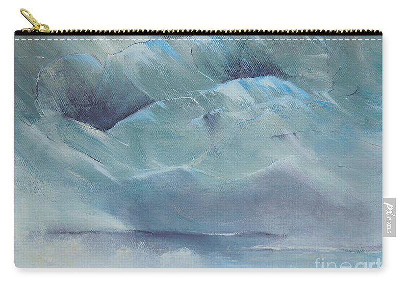 Glacier Bay Carry-all Pouch featuring the painting A Cold Day by Dan Whittemore
