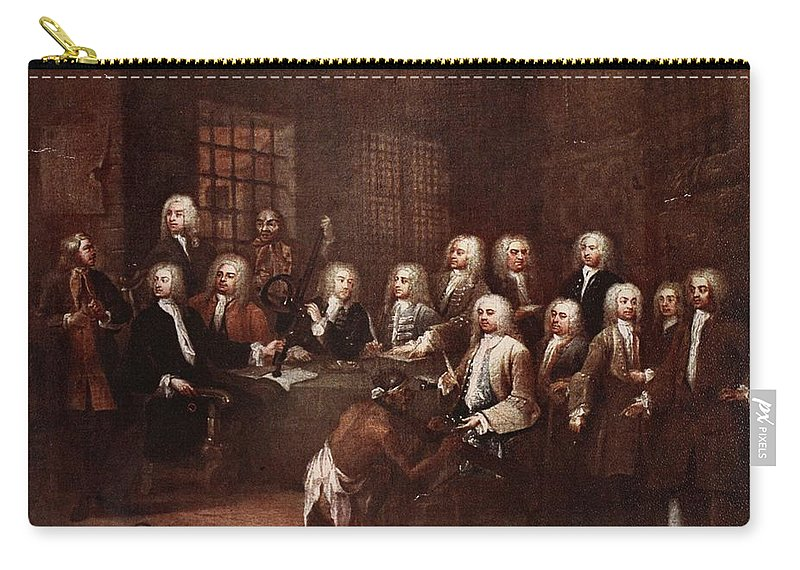 Notorious Carry-all Pouch featuring the drawing A Committee Of The House Of Commons by William Hogarth