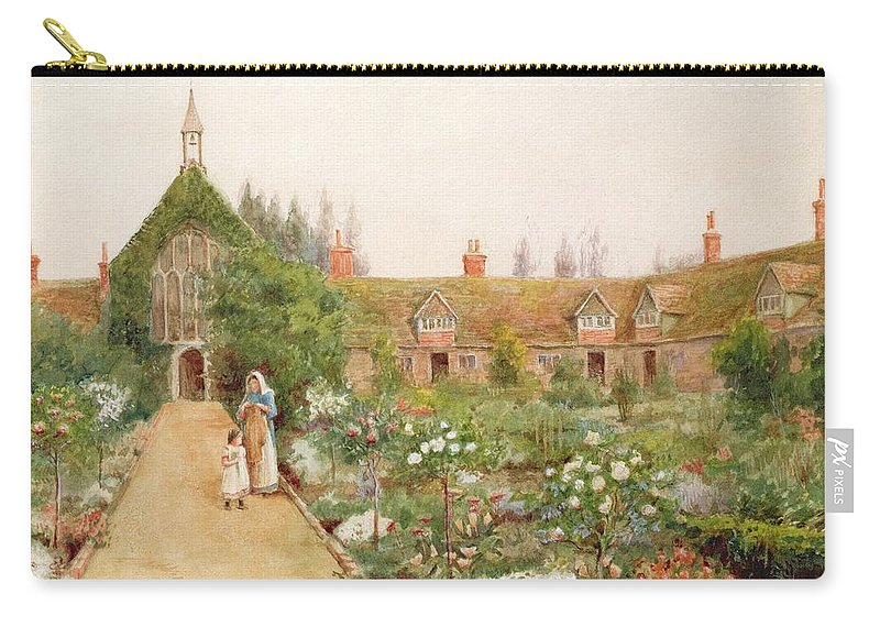 Mother Carry-all Pouch featuring the painting A Country Garden At Bray, Berkshire by Thomas Nicholson Tyndale