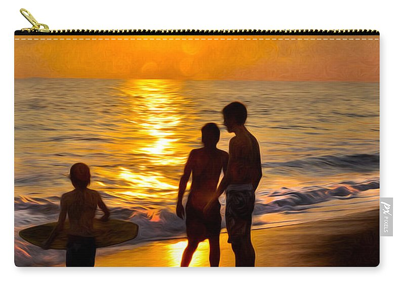 Beach Carry-all Pouch featuring the painting A Day At The Beach by Tom Bell