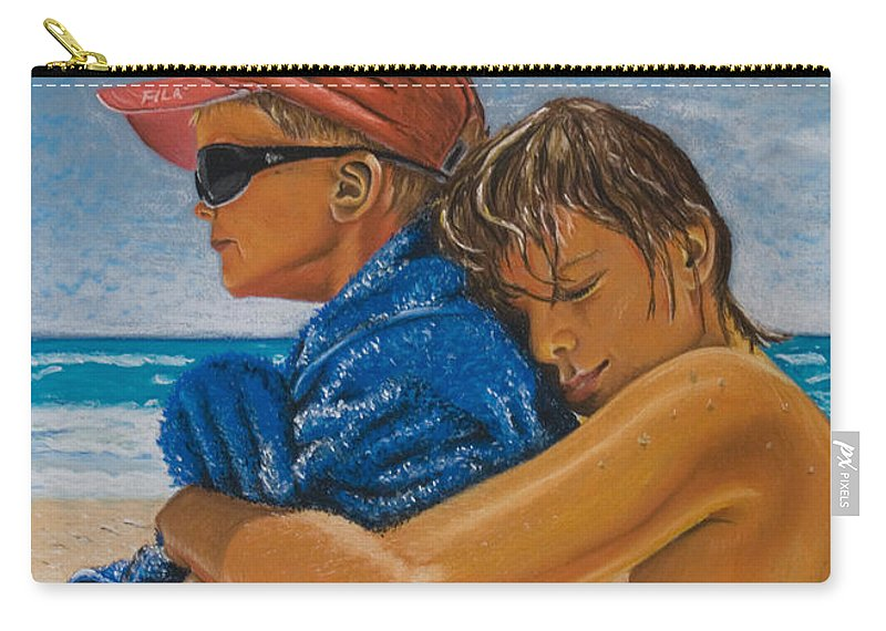 Beach Carry-all Pouch featuring the pastel A Day On The Beach by Katharina Filus
